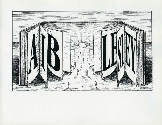 18 Illustration by Thomas Kerr, AIB faculty member, to comemorate the merger between the Art Institute of Boston and Lesley College in 1998