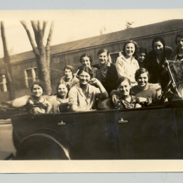 DI-000001 1931_more.jpg 1931 Photograph 12 Lesley School students riding in a convertible on campus (From left: Olivine F. Howland Frost, Alice Ramsdell Russell, Bea Grant Gellerson, Elinor Quinn, Muriel Bell Bowker, Alice Wallingford, Isadora Micheline Oliphant, Margaret Hutchenson Patton, Erma Maiani Ottariana); donated by unknown alumna b&w photograph, glossy; 11. 4 x 7 cm; w/border Photographs: Lesley University RG 3.1 Lesley University Archives